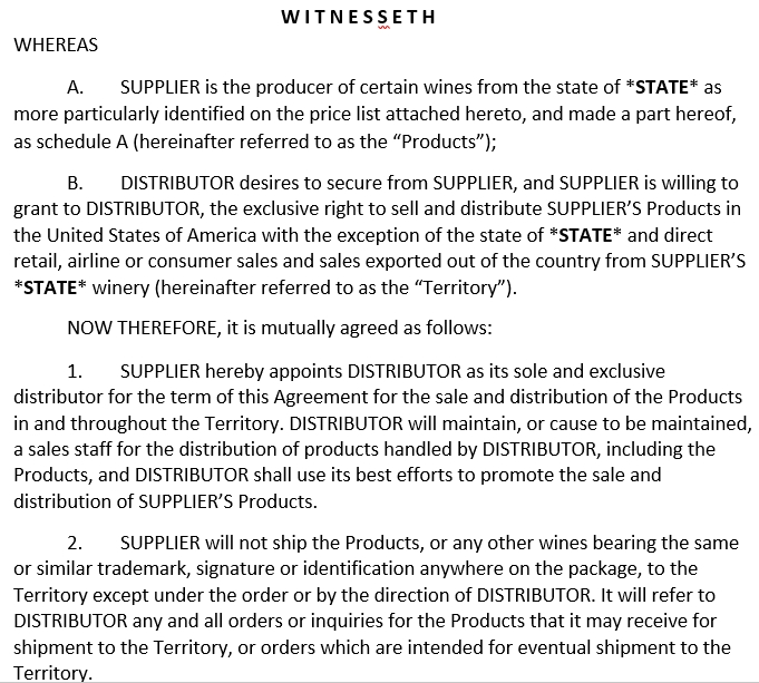 Supplier Distribution Agreement