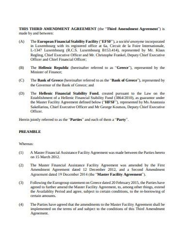 Third Amendment Agreement Template
