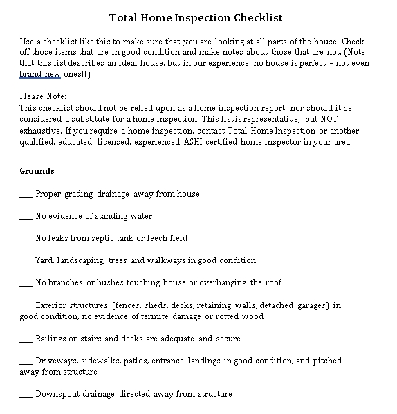 Total Home Inspection Checklist