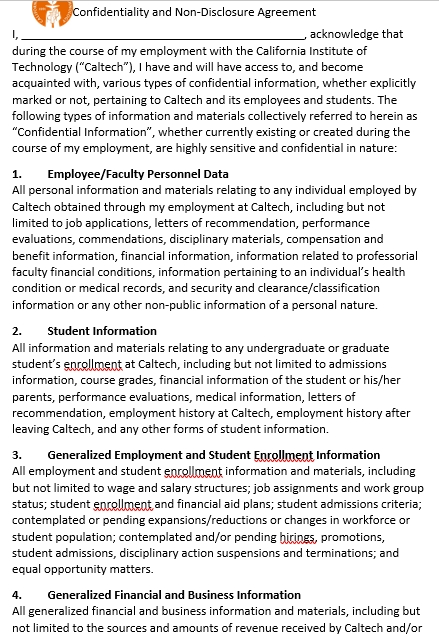 University Audit Confidentiality Agreement Template