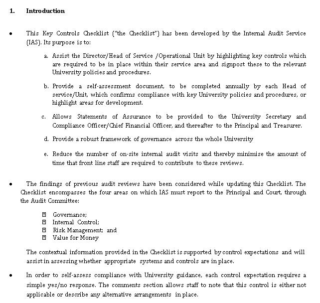 University Finance Audit Control Checklist Template