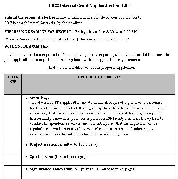 University Research Internal Grant Checklist Template