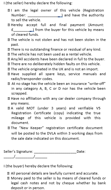 Used Car Sales Agreement Example