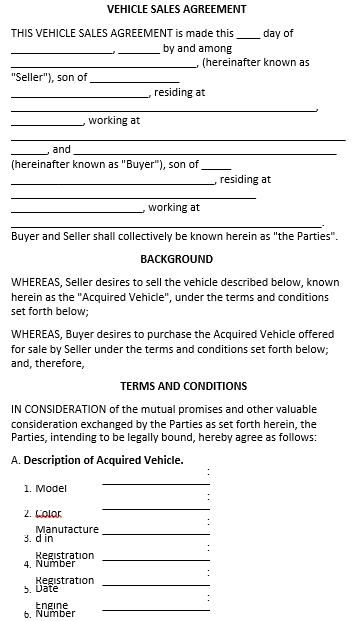 VEHICLE SALES AGREEMENT TEMPLATE 1