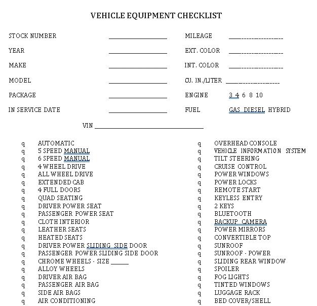 Vehicle Equipment Checklist Sample