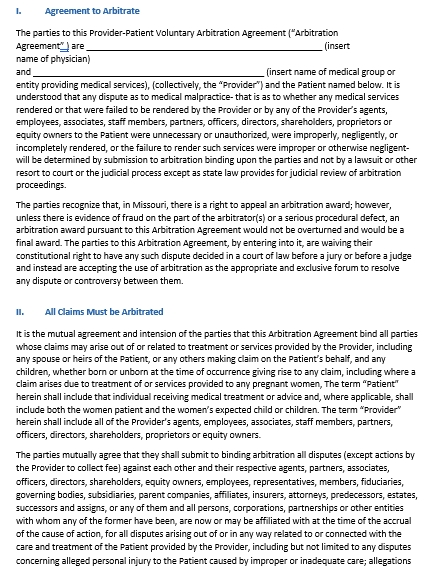 Voluntary Arbitration Agreement Template