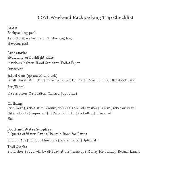 Weekend Backpacking Checklist