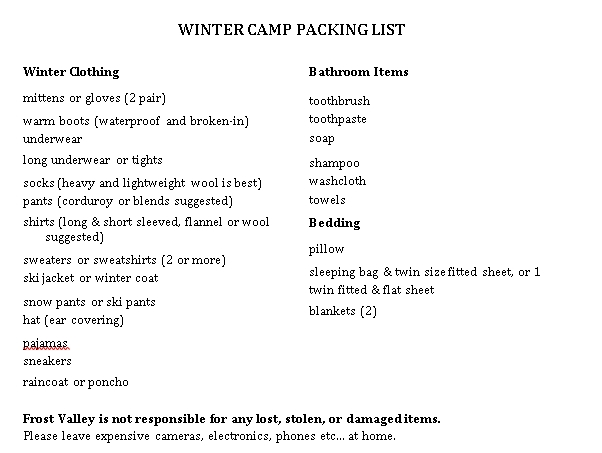 Winter Camping Packing Checklist PDF Format