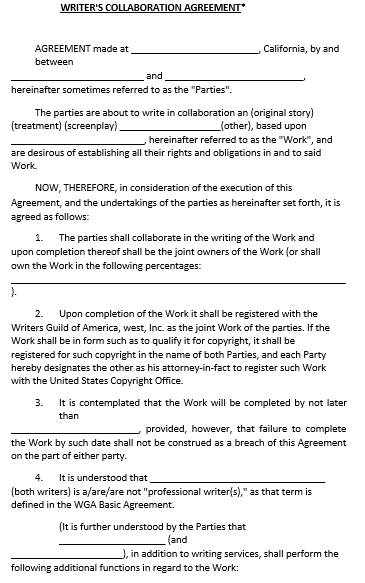 Writers Collaboration Agreement