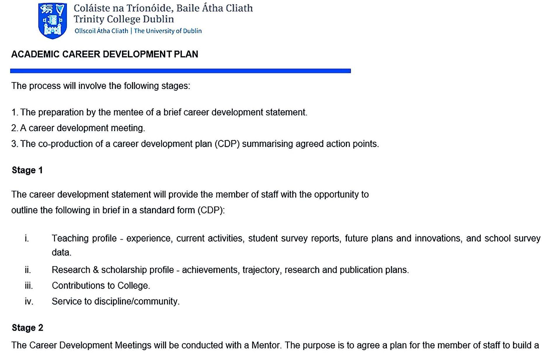 academic career development plan guideline