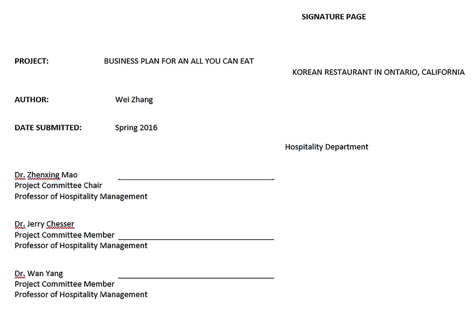 all you can eat restaurant business plan