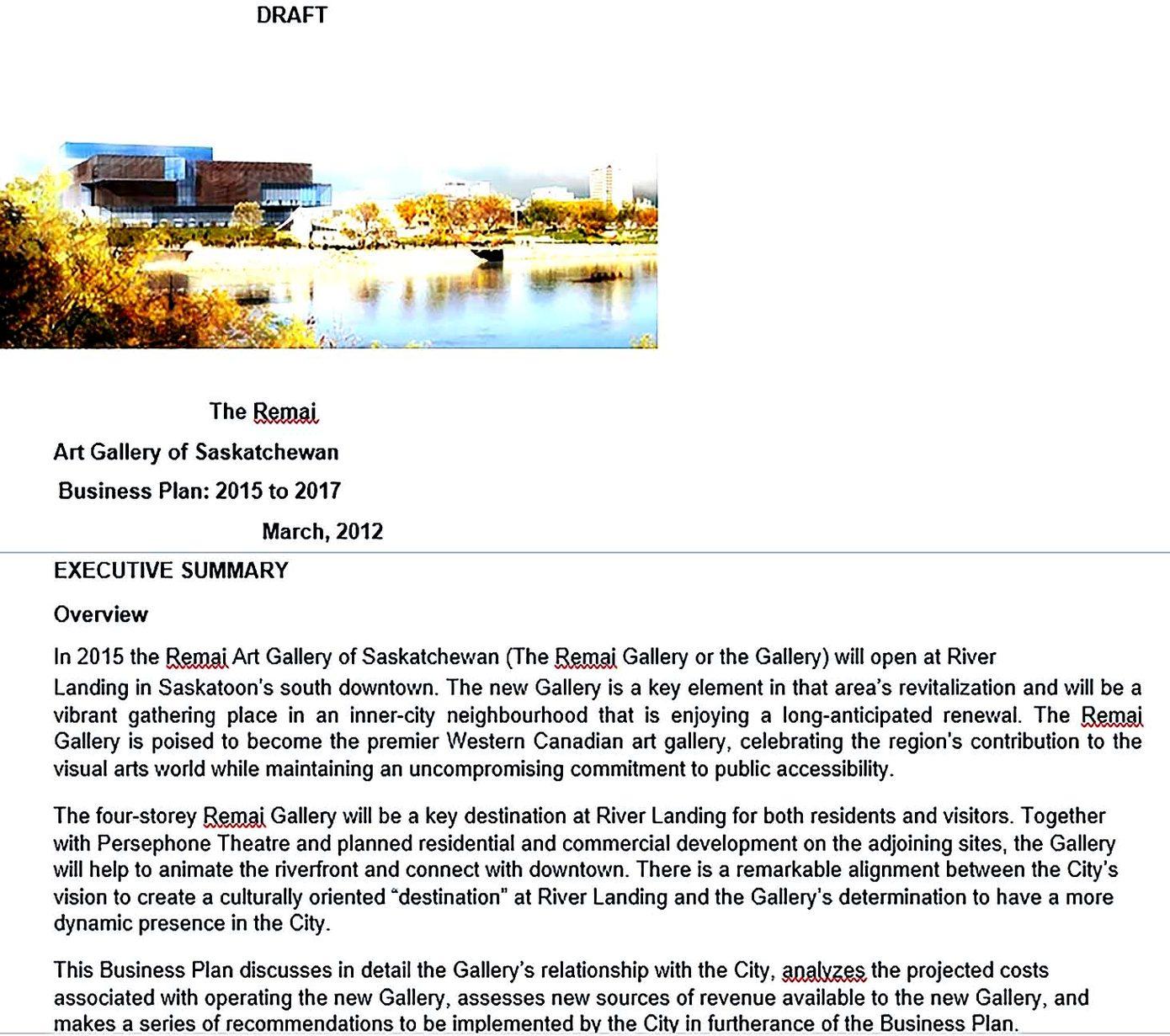 art gallery business plan