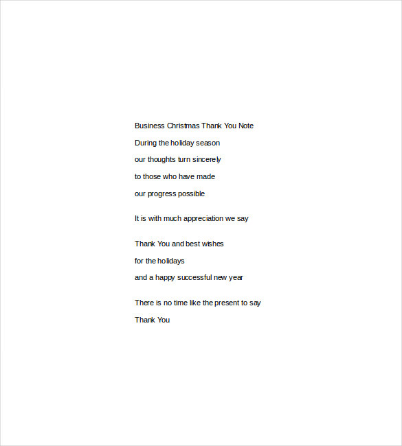 business christmas thank you note