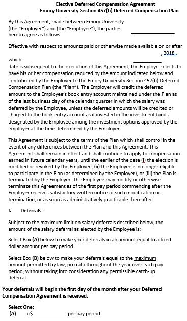 deferred compensation agreement form