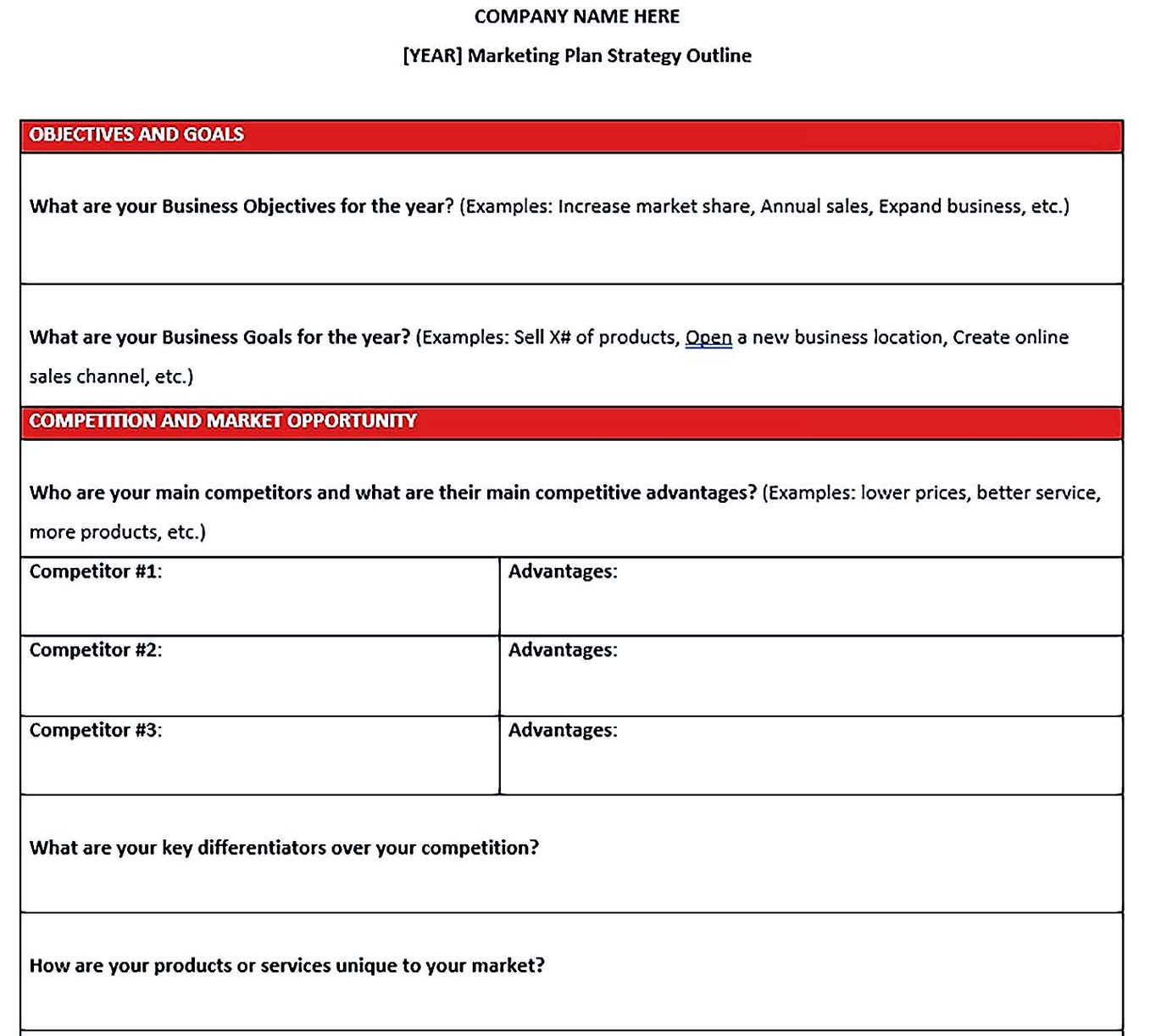 free annual marketing plan strategy template