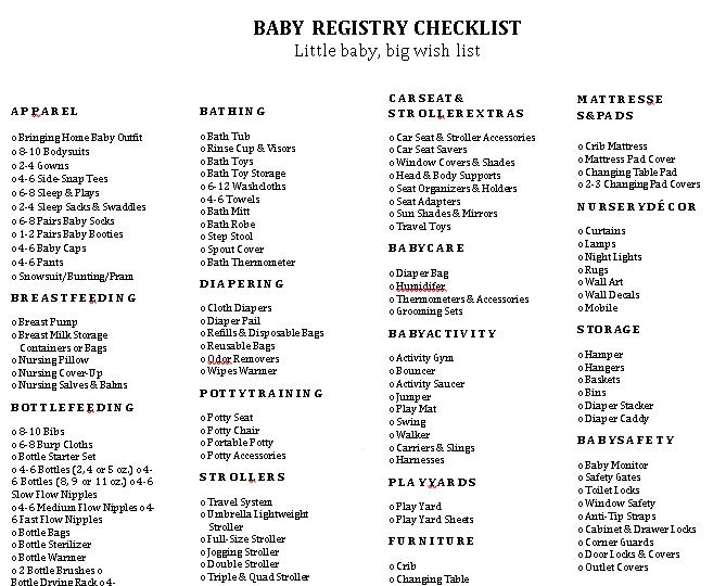 kohls Complete Little Baby Registry Checklist
