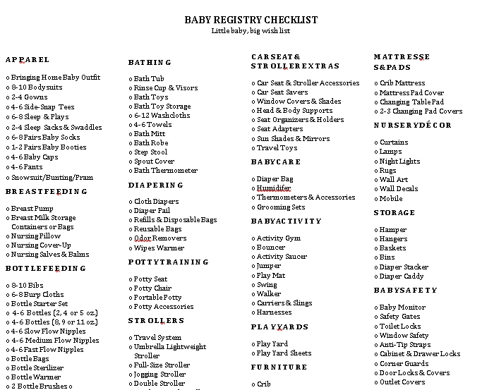 kohls First Baby Registr Checklist