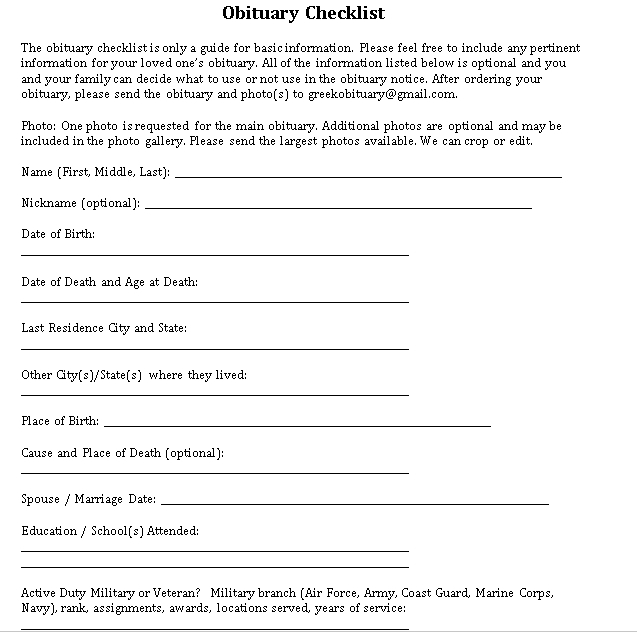 obituary checklist
