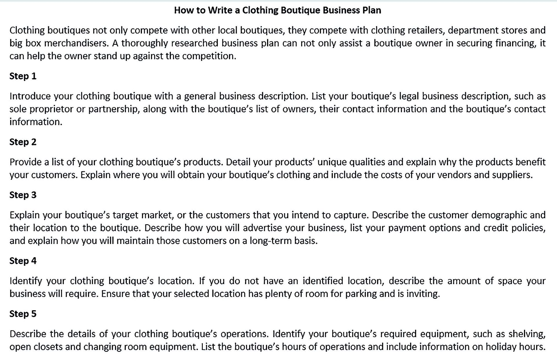 opening a boutique business plan
