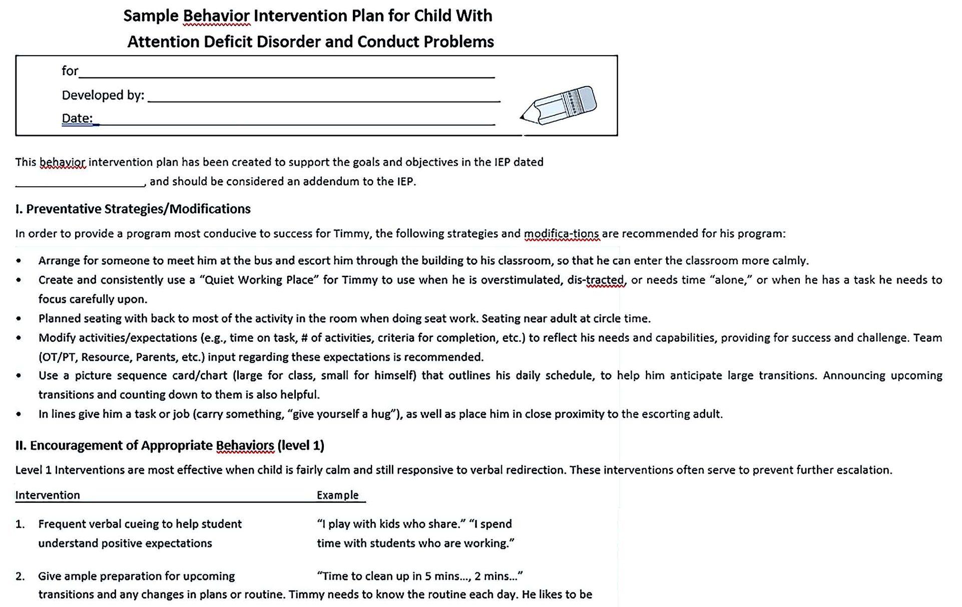 sample behavior plan1
