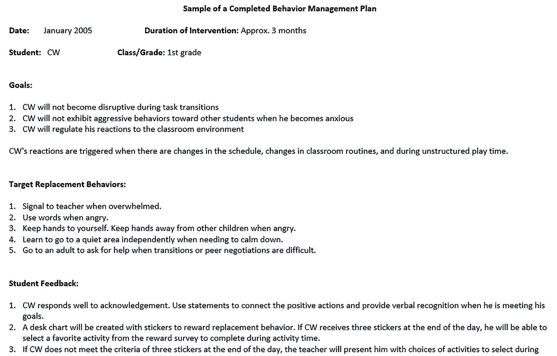 sample management plan 1