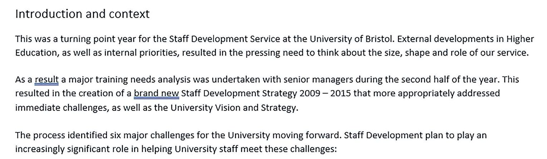 staff development report