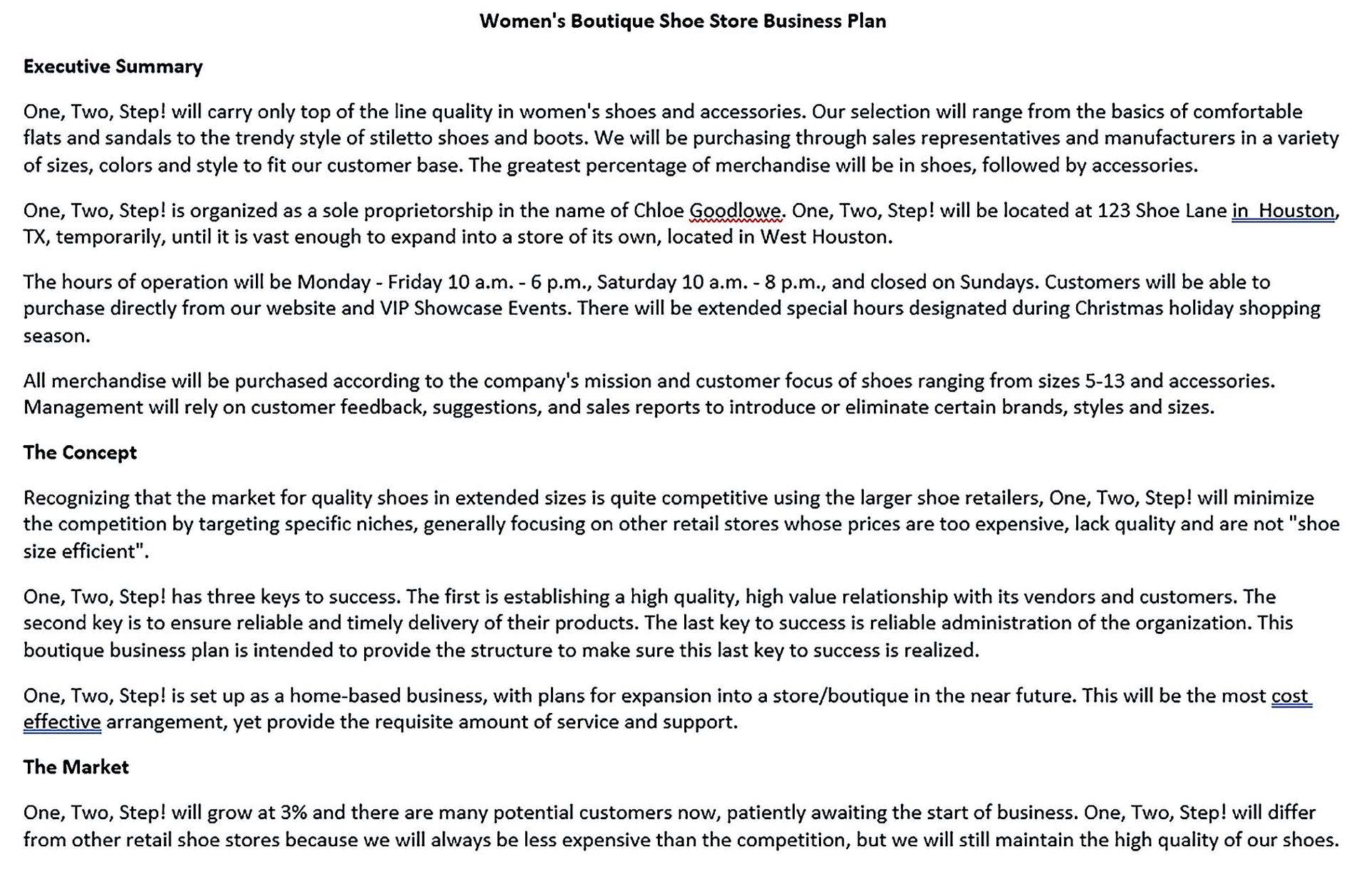 women s boutique shoe store business plan