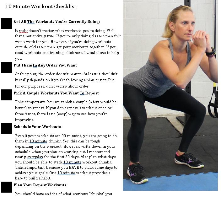 10mins Workout Checklist Template