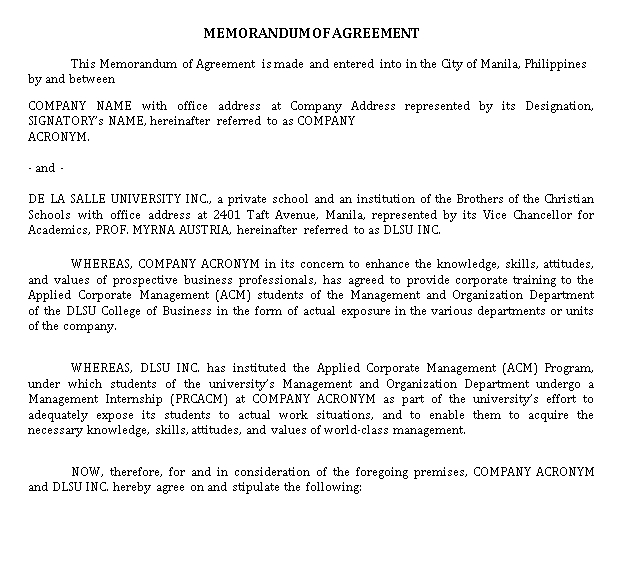 ACM Memorandum of Agreement