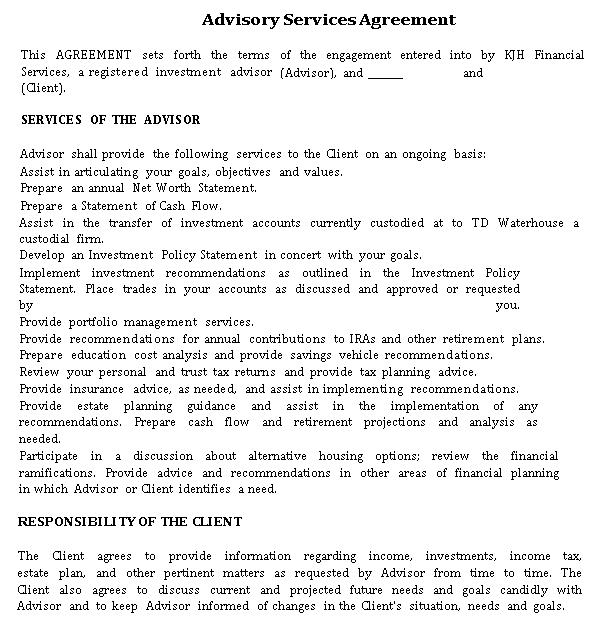 Advisory Financial Service Agreement