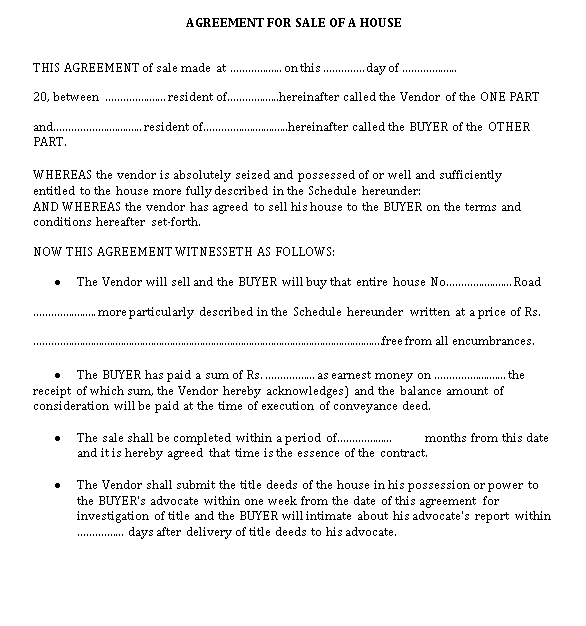 Agreement for Sale of a House