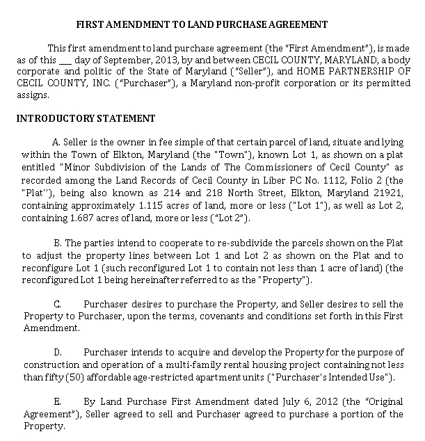Amendment Land Purchase Agreement