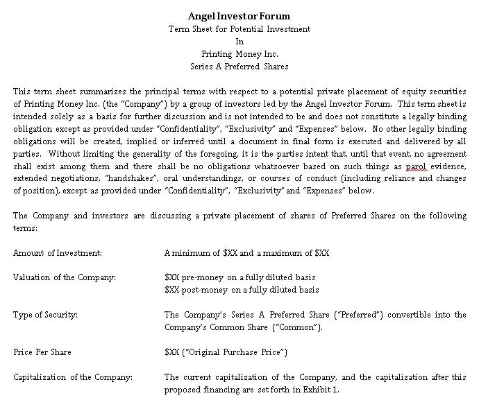 Angel Investor Agreement Template