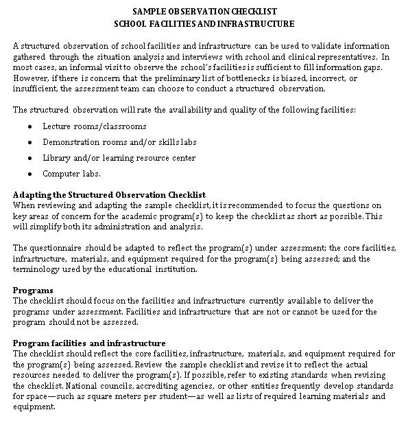 Annex 6 3 Sample Observation Checklist School Facilities Infrastructure 0