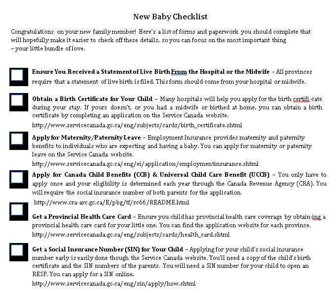 Baby To Do Checklist Sample