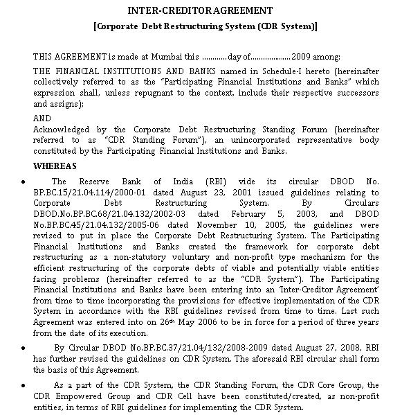 Bank Inter Creditor Agreement