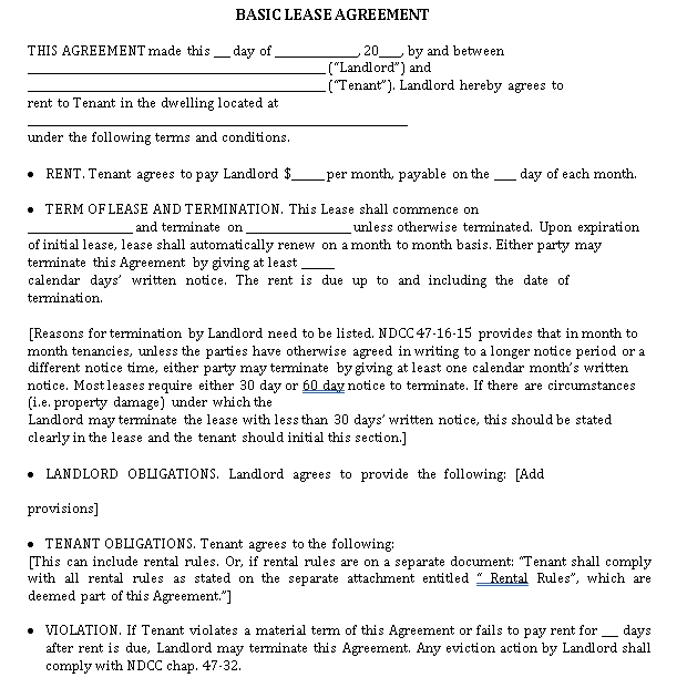Basic House Rental Lease Agreement Template