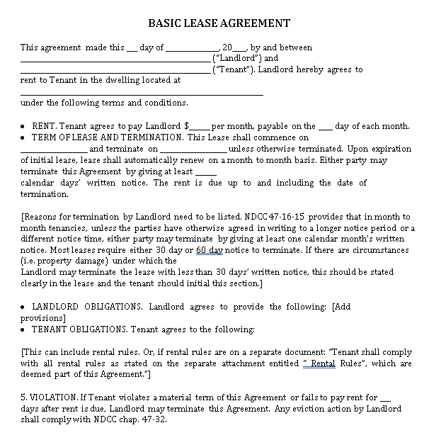 Basic Lease Agreement in PDF