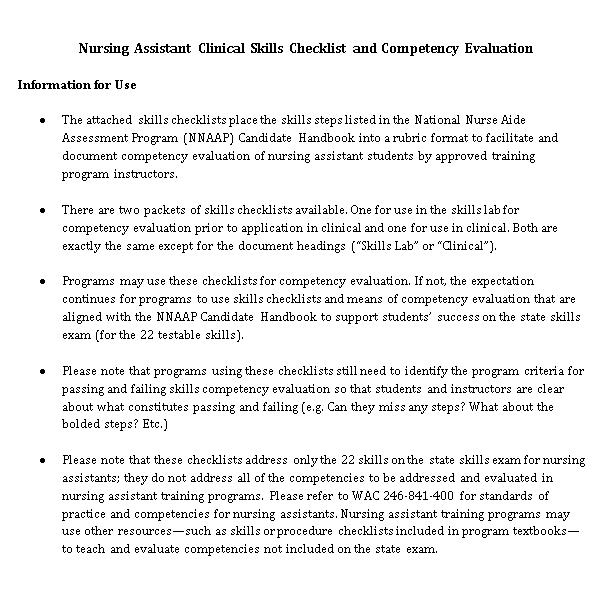 Basic Nurse Competency Checklist