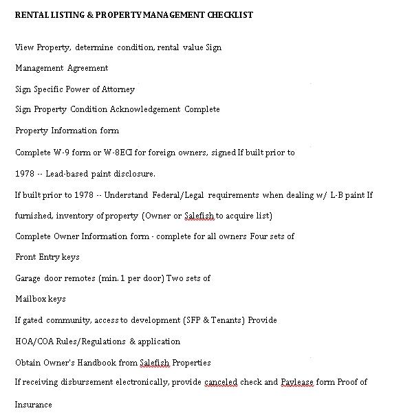 Basic Property Management Checklist