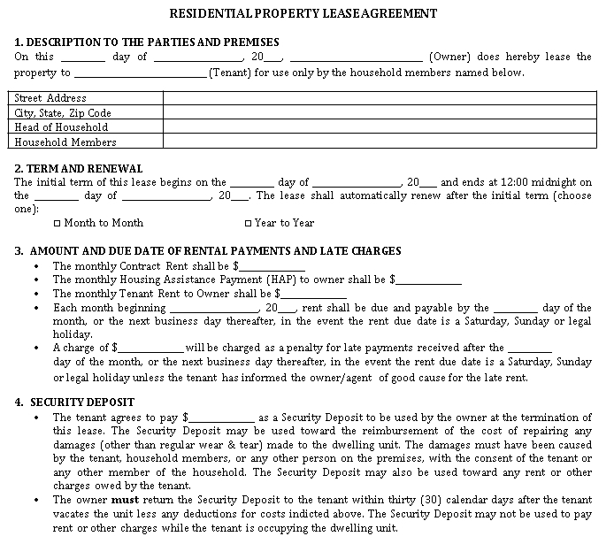 Basic Residential Rental Lease Agreement Template