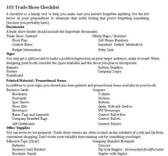Basic Trade Show Checklist