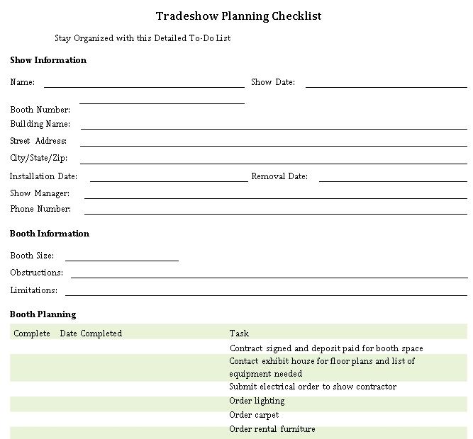 Basic Trade Show Planning Checklist