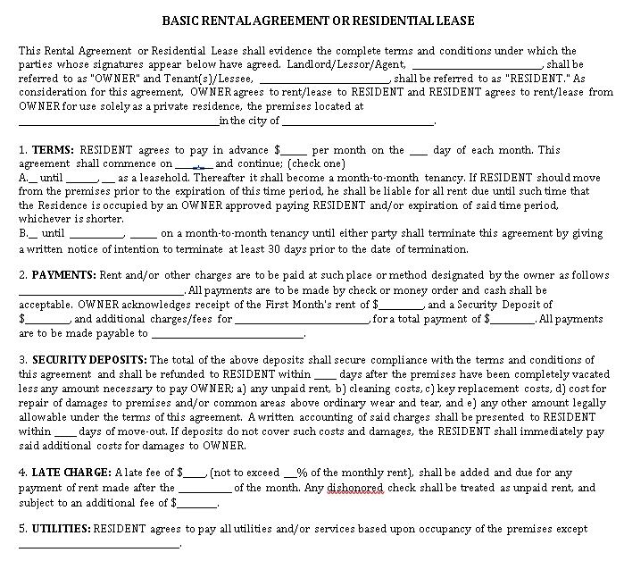 Blank Residential Agreement