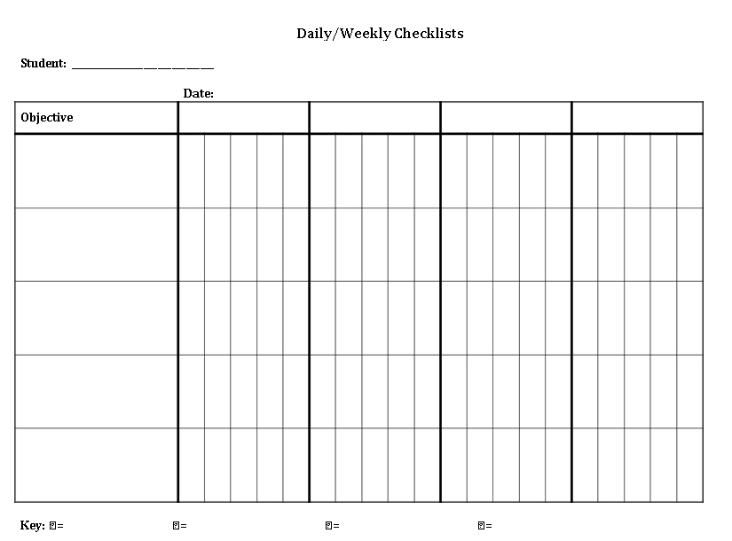 Blank Weekly Checklist Template