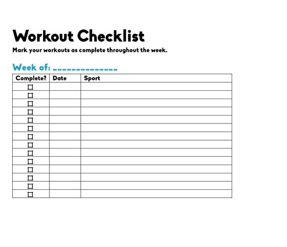 Blank Workout Checklist Template