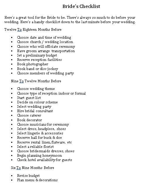 Bride Checklist 1