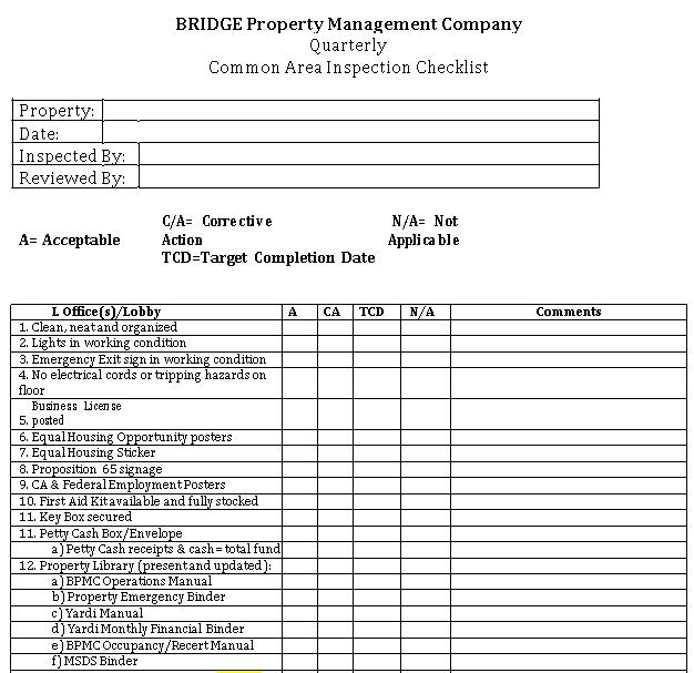 Bridge Property Managment Checklist