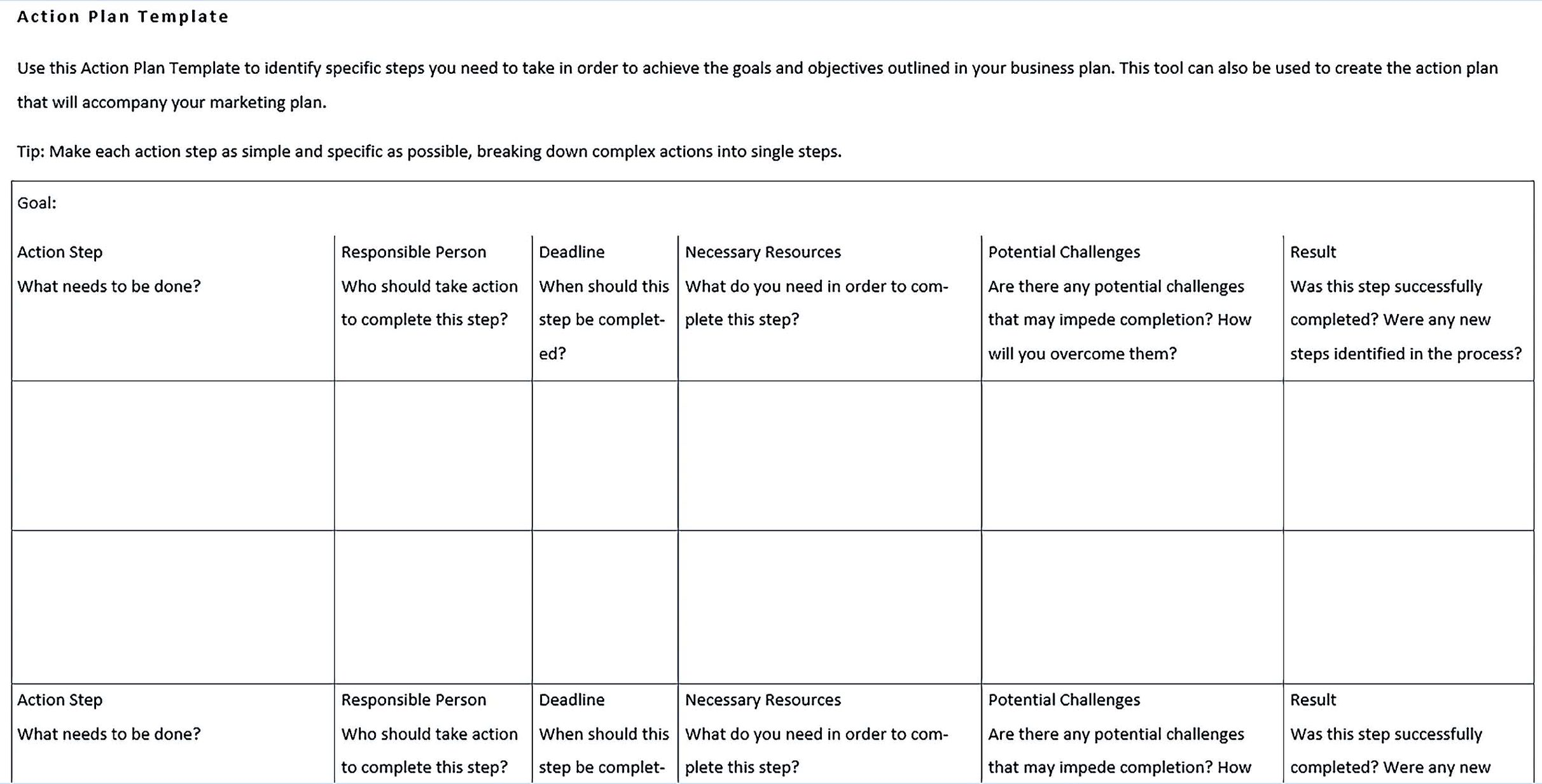 Business Action Plan Sample