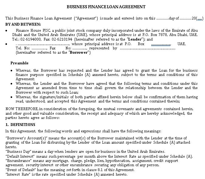 Business Finance Loan Agreement 1